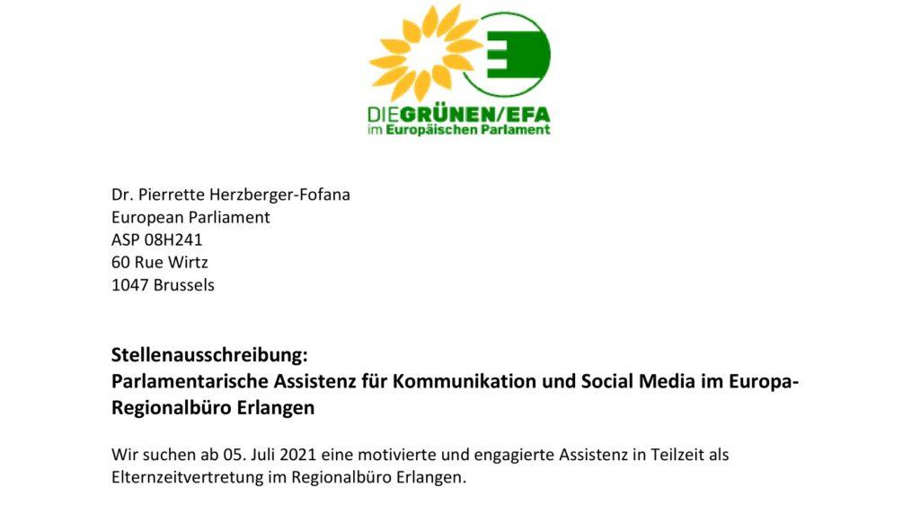 Stellenausschreibung Lokalassistenz im MdEP Büro Erlangen